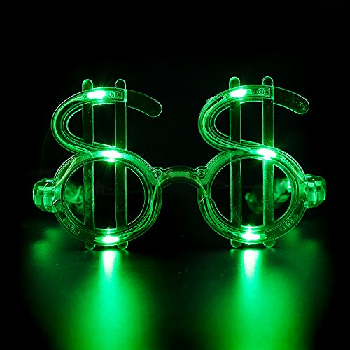 Fun Central G733 LED Light Up Green Dollar - Dollars Sunglasses