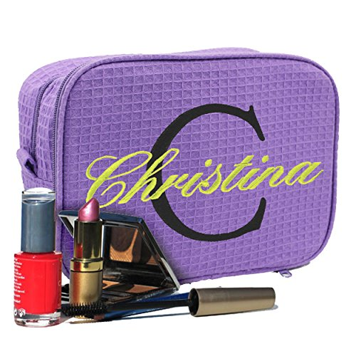 Personalized Waffle Makeup Bag - Monogrammed Cosmetic Make Up Travel Train Case - Custom Embroidered for Free (Purple)