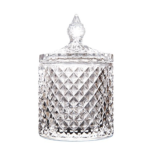 SOCOSY Elegant Crystal Diamond Apothecary Jar with Lid for Cotton Balls, Swabs,Cosmetic Pads Candy Buffet Jars Jewelry Box Wedding Gift
