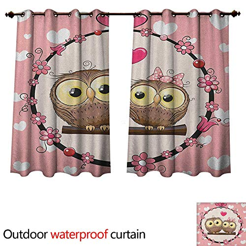 r Curtain for Patio Love Valentines Owl Couple on Tree Branch Floral Wreath Celebrations Art W63 x L72(160cm x 183cm) ()