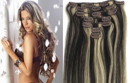 World Pride Модные прямой зажим в наращивание волос 18 дюймов 70 грамм No.1b / 613 Mix