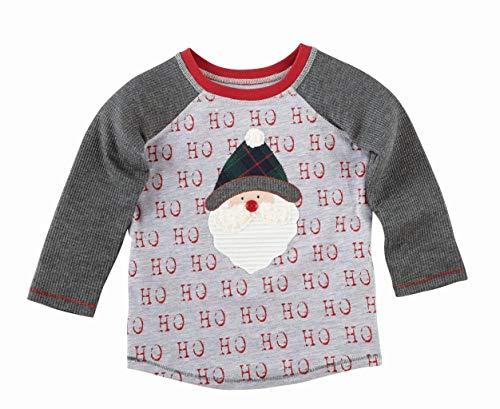Tone Raglan T-shirt (Mud Pie Christmas Santa Alpine Two Tone Gray T-Shirt, Grey, MD (2T-3T Toddler))