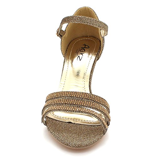 Soir Fête Femmes Sandales de Marron Bal Dames Mariage des Talon Taille mariée Brillant Cristal Diamante De Haut Chaussures IpqIF