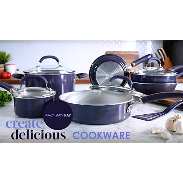 Rachael Ray Create Delicious Nonstick Cookware Pots and Pans Set, 13 Piece, Purple Shimmer 7