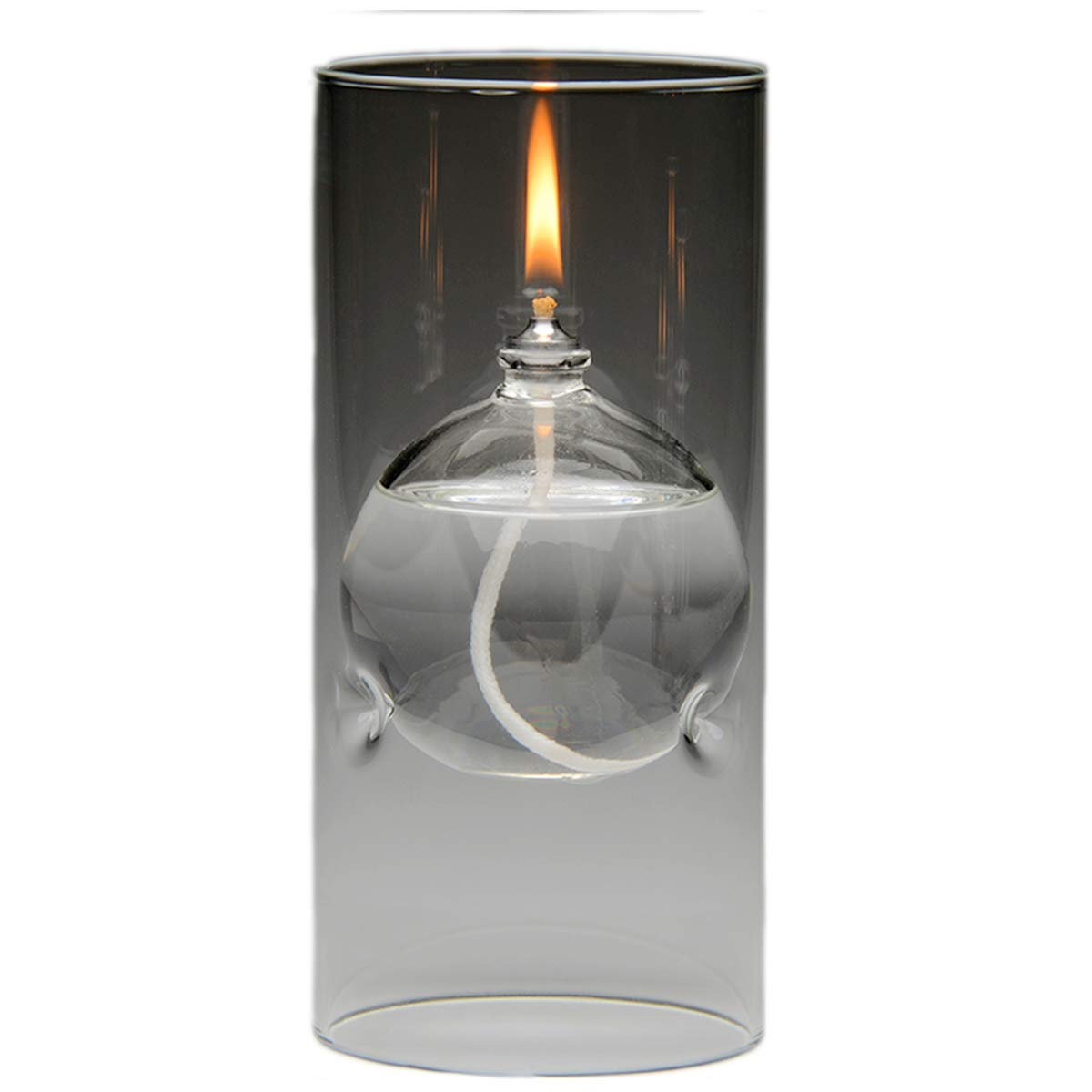 The Modern Transcend Clear Glass Oil Lamp Gift Set is a Unique Gift for Her. The Bliss Oil Candle Appears to Float in the Hurricane Candle Holder - Includes 16 oz. Smokeless Lamp Oil and a Funnel