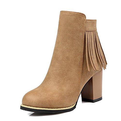 AgooLar Damen Rein Reißverschluss Rund Zehe Stiefel, Aprikosen Farbe, 35