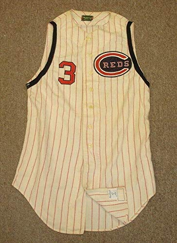 1966 Mel Harder Cincinnati Reds Game Used Home Vest Flannel Jersey #3 - MLB Game Used Jerseys