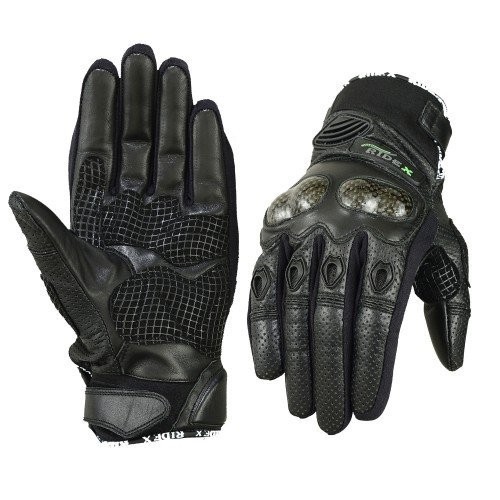 Motorcycle Accessories Biker Motocross Racing Sport Finger Armor Armour Protective Leather Glove Black for Motorbike (Classic) (X-Large)