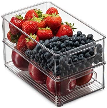 """51Jtfe9KGOL. AC Set Of 6 Refrigerator Organizer Bins - Stackable Fridge Organizers with Cutout Handles for Freezer, Kitchen, Countertops, Cabinets - Clear Plastic Pantry Food Storage Rack    Keep your refrigerator, freezer, countertops, kitchen cabinet or pantry neatly organized with these stackable fridge organizer pantry storage bins. Ideal sized to fit fruits, vegetables yogurts, canned goods, food packets, cheese, meat, also good for storing dry goods in the pantry. Ideal for kitchens, countertops, pantry shelves, refrigerators, freezers, cabinets, or as drawer organizers. Practical Stackable design to help maximize your space. Stack or use them side by side to keep items organized and easy to find. Each bin measures Approx. 10"""" L × 6"""" W × 3"""" H. Great for closets, bedrooms, bathrooms, laundry rooms, craft rooms, mudrooms, offices, play rooms, garages, or any room of your home / apartment / condo / dorm room / RV or camper. Made of durable high quality 100% food safe BPA Free shatter-resistant plastic Designed with practical carry handles and interior non slip texture, clean with warm soapy water. Do not place in dishwasher"""