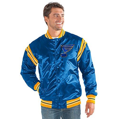 NHL St. Louis Blues Men's The Enforcer Retro Satin Jacket, Large, Blue (Louis Starter Blues)
