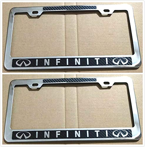 Tuesnut 2X Stainless Steel Black Carbon Fiber Vinyl License Plate Frame Covers Holder Screws Caps Rust Free for Infiniti