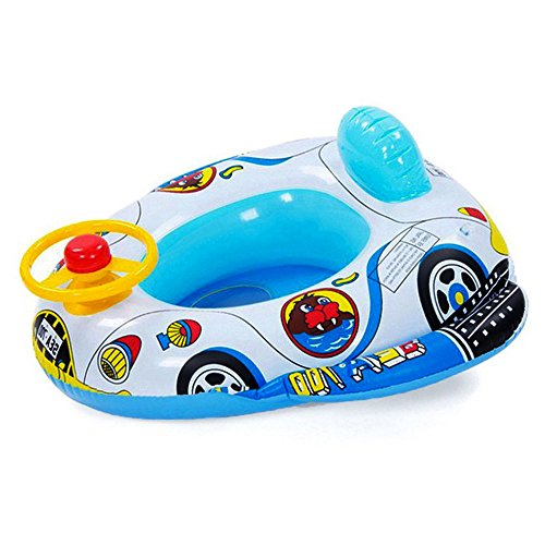 (Branger Pool Inflatable Baby Boat Swimming Ring Inflatables for Babies Nice Car Design Safe PVC Swimming Aid with a Horn Toy Steering Wheel)