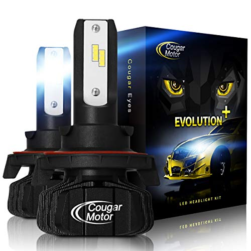 (Cougar Motor H13 Led headlight bulbs, 9600Lm 6500K (High/Low) Fanless Conversion Kit - 3D Bionic Technology, 360°Adjustable Beam)