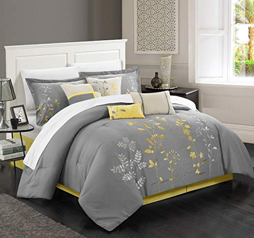 Chic Home 8 Piece Bliss Garden Comforter Set, Queen, Yellow from Chic Home