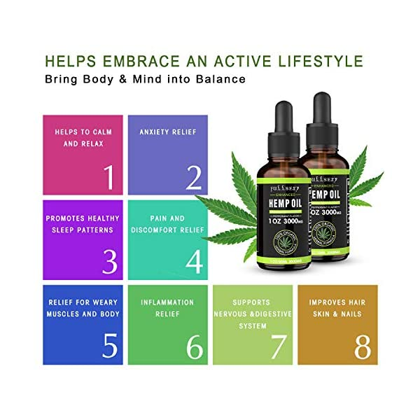 2 Pack 10% Hemp Oil Drops 3000MG 30ML, Great for Anxiety Pain Relief Sleep, Effectively Relief Anxiety Stress, Made with Hemp Grown in Nature, Non-GMO, Dropper Included