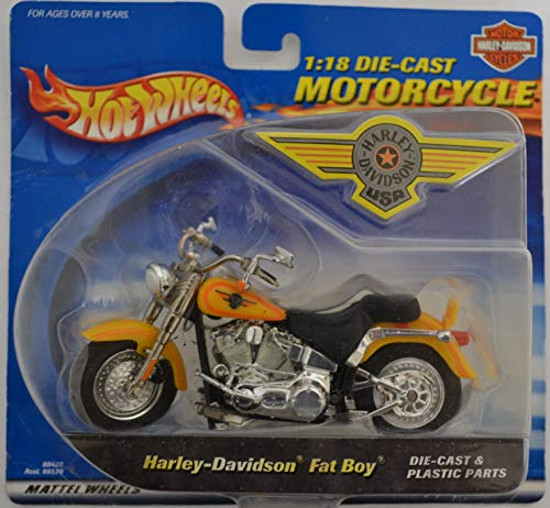 Hot Wheels Harley-Davidson Fat Boy 1:18 Scale Collectible Die-Cast Model Motorcycles (Harley Davidson Fat Boy Model)
