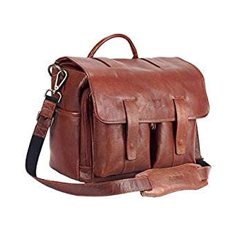 Image of 4 V Design Luca Leather Messenger Bag for Camera (Ultra-Grip, Removable Compartment with 4 Dividers) Brown