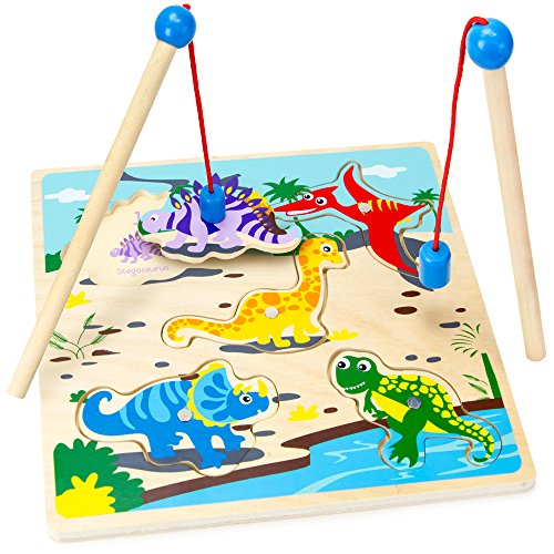 Worlds Largest Dinosaur (Wooden Wonders Lift & Look Magnetic Dino Catcher Game with 2 Wands (5 pcs.) by Imagination Generation)