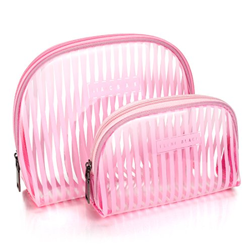 - LazyBear Transparent Pink Travel Makeup Bag Pouch,Clear Cosmetic Bag Set, PVC Plastic Large Toiletry Bag Case Kit Waterproof Bathroom Travel Accessories, Evening Clutch Bag for Women