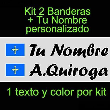 Nombre Personalizado Pegatina Vinilo Bandera Asturias