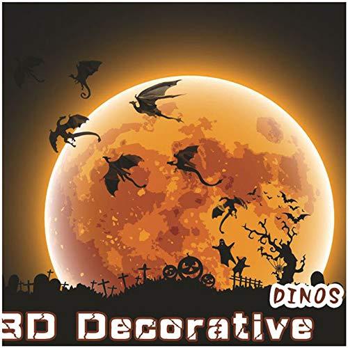 (Dinosaur With - 7pcs Home Decration 3d Diy Black Stereoscopic Dinosaur Wall Art Sticker Halloween Party- Halloween New Halloween Girl Room Sticker Paper Sticker)