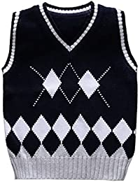 Kids Knit Sweater Vest V-Neck Argyle Thicken Students Pullover