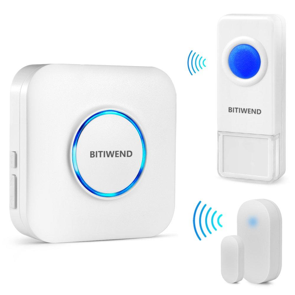 Wireless Doorbell Door Open Chime Kit BITIWEND Waterproof Doorbell plus Door Entry Alert with 52 Tunes LED Indicator 4 Level Sound Control for Home/Office/Store 1 Receiver+1 Push Butoon+1 Door Sensor