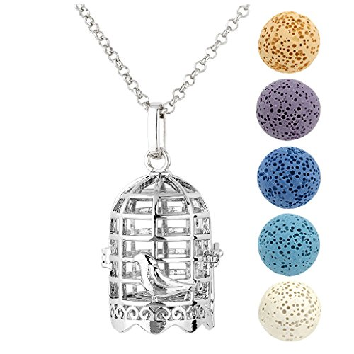 JOVIVI Antique Silver Birdcage Aromatherapy Essential Oil Diffuser Necklace Locket Pendant with 5 Dyed Lava Stone Beads