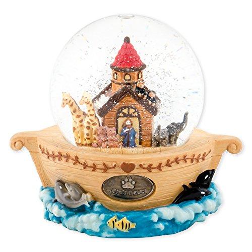 Noahs Ark Animals 100mm Resin Glitter Water Globe Plays Tune Talk to the Animals
