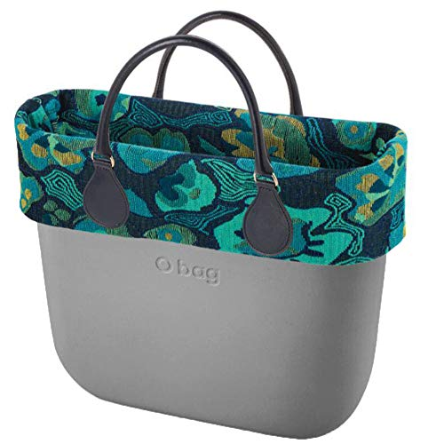 Obag Bag O Bag Big Silver Bork Folk Fleurs Sac intérieur bleu marine à manche court