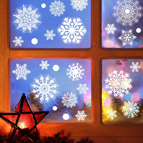 184 Piece Christmas Snowflake Window Decal Clings- Xmas Holiday White Winter Christmas Window Decorations Ornaments Party Supplie