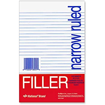 National Brand Filler Paper, Narrow Ruled, 8.5 X 5.5 Inches, 100 Sheets (13551)