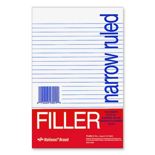 National Brand Filler Paper, Narrow Ruled, 8.5 X 5.5 Inches,