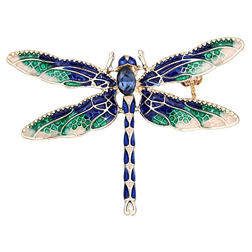EVER FAITH Women's Austrian Crystal Blue w/Green Enamel Cute Animal Dragonfly Brooch ()