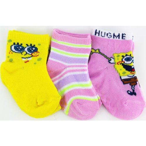 "Spongebob Squarepants ""Green Stripe"" 3-Pack Infant Socks 0-12M"