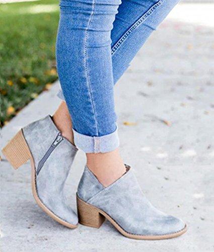 L'Automne Femme Bootie Bottines Cuir Boots Boots Bleu Chelsea Chaussure Casual Talons Bloc Ankle Bottes Mode PU Minetom BfFwqvxx