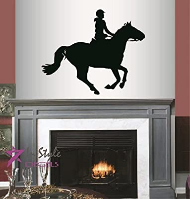 Wall Vinyl Decal Home Decor Art Sticker Silhouette Girl Woman Riding Horse Horseback Riding Sports Room Removable Stylish Mural Unique Design For Any Room Creative Design Logo House