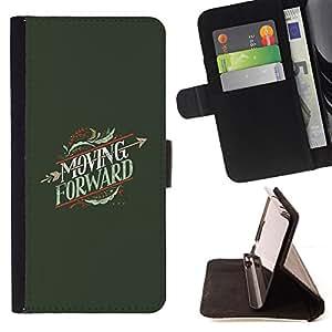 BullDog Case - FOR/Samsung ALPHA G850 / - / MOVING FORWARD HEARTBREAK ARROW /- Monedero de cuero de la PU Llevar cubierta de la caja con el ID Credit Card Slots Flip funda de cuer