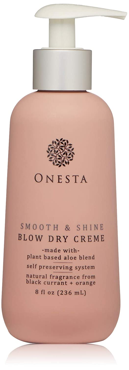 Onesta Hair Care Smooth & Shine Blow Dry, Styling, Heat Protection Crème, 8 oz, Blowout Cream For Frizzy, Untame Hair