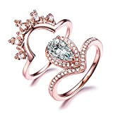 CZ Cubic Zirconia Engagement Ring Set Pear Shape Halo Curved Matching Band 925 Sterling Silver Rose Gold
