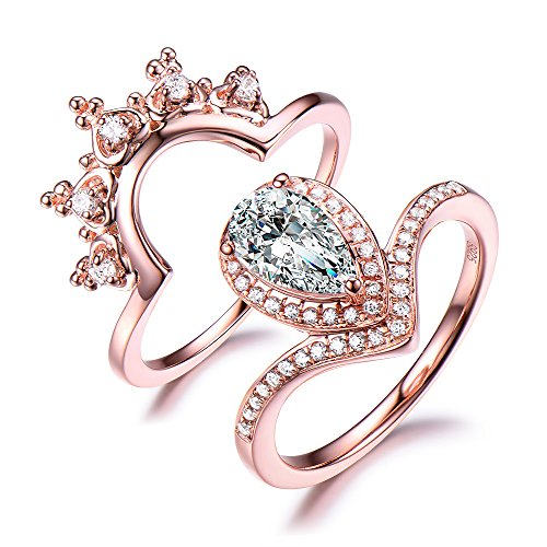 CZ Cubic Zirconia Engagement Ring Set Pear Shape Halo Curved Matching Band 925 Sterling Silver Rose Gold by Milejewel CZ engagement rings