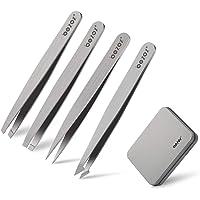 BEZOX Tweezers Set, 4 PCS Precise Tweezer for Eyebrow Shaping (Regular Size)