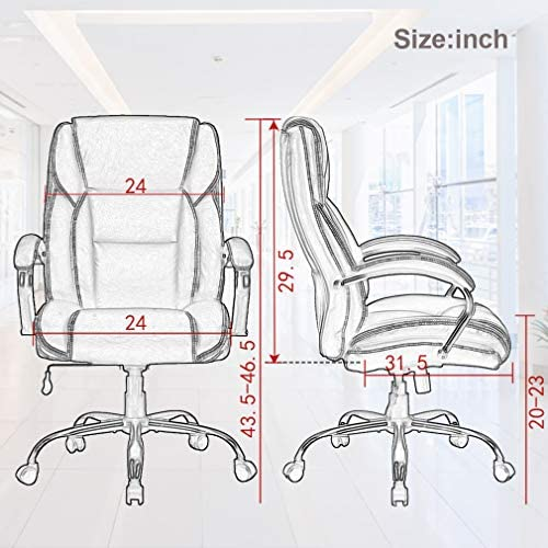 Big and Tall Office Chair 500lbs Wide Seat Ergonomic Desk Chair Task High Back Executive Chair Rolling Swivel PU Computer Chair with Lumbar Support Armrest Adjustable Chair for Heavy People, Brown 51JtjGp4vWL