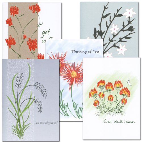 (Get Well Card Assortment - 2 each of 5 different styles, box of 10 cards & envelopes)