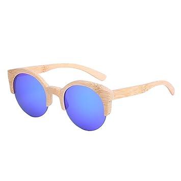 lzndeal Vintage Women Half Frame Bamboo Round Sunglasse Wooden SunglassesUV400 Polarized Lens Sun Glasses CE6DUNIzh