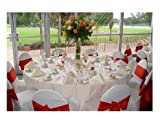 K&A Company Polyester Spandex Chair Covers Wedding Party White Flat Arched Universal in White