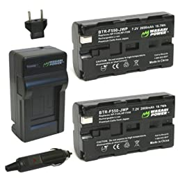 Wasabi Power Battery (2-Pack) and Charger for Sony NP-F330, NP-F530, NP-F550, NP-F570 and Sony CCD-RV100, CCD-RV200, CCD-SC5, CCD-SC6, CCD-SC55, CCD-SC65, CCD-TRV66, CCD-TRV67, DCM-M1, DCR-SC100, DCR-TR7, DSC-CD250, DSC-CD400, DSC-D700, DSC-D770, D-V500,