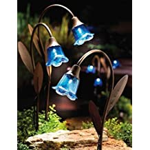 Set of 3 - Blue Bell Solar Stake Lights with Copper Finish Stems
