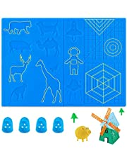 3D Pen Mat, 16.6 x 7.7 Inches Large 3D Printing Pen Mat Silicone Basic Template with 4 Finger Protectors, 3D Pen Drawing Tools, Gift for 3D Beginners/Kids/Adults