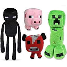 Unknown Minecraft Plush Set of 4 with Creeper Enderman Pig & Mooshroom Free, 4Pcs Set
